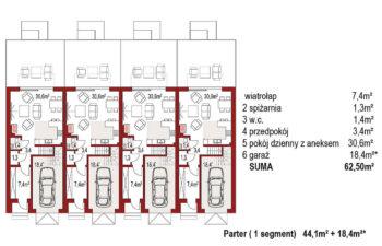 Projekt domu szeregowego, bliźniaczego Diana 2 zestaw 4 segmenty rzut parteru