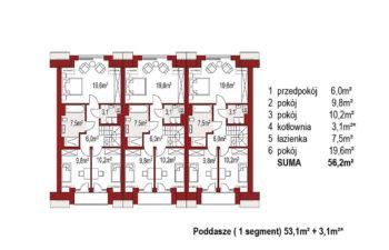 Projekt domu szeregowego, bliźniaczego Diana 2 zestaw 3 segmenty rzut poddasza