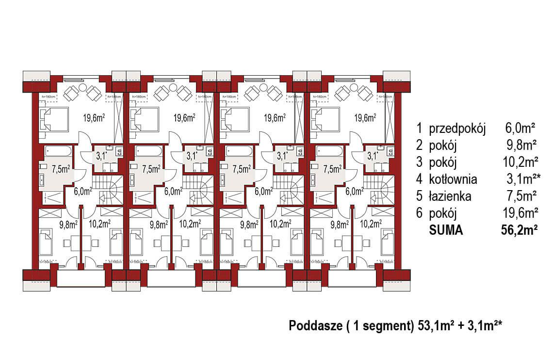 Projekt domu szeregowego, bliźniaczego Diana 2 zestaw 4 segmenty rzut poddasza
