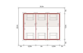 Projekt domu szeregowego, bliźniaczego Diana 2 zestaw 3 segmenty sytuacja
