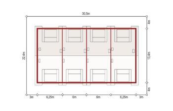 Projekt domu szeregowego, bliźniaczego Diana 2 zestaw 4 segmenty sytuacja