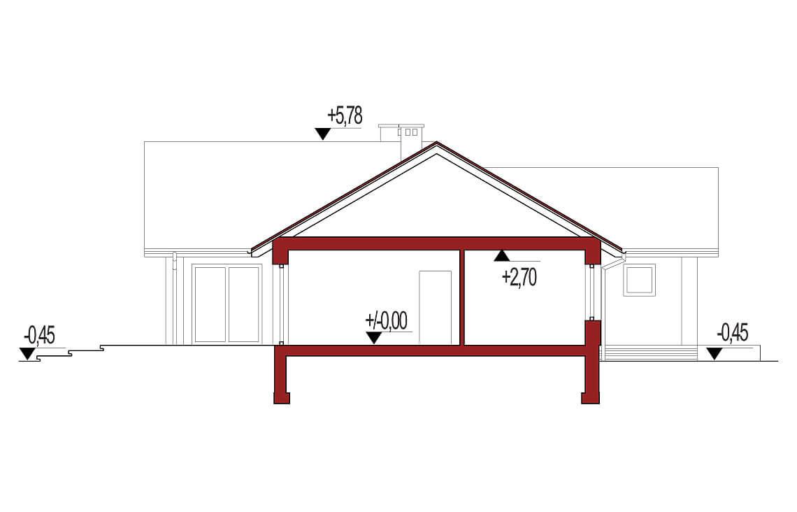 Projekt domu Evita Optima A strop monolityczny przekrój