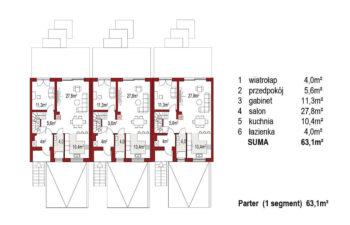 Projekt domu szeregowego, bliźniaczego Ania A 3 segmenty rzut parter