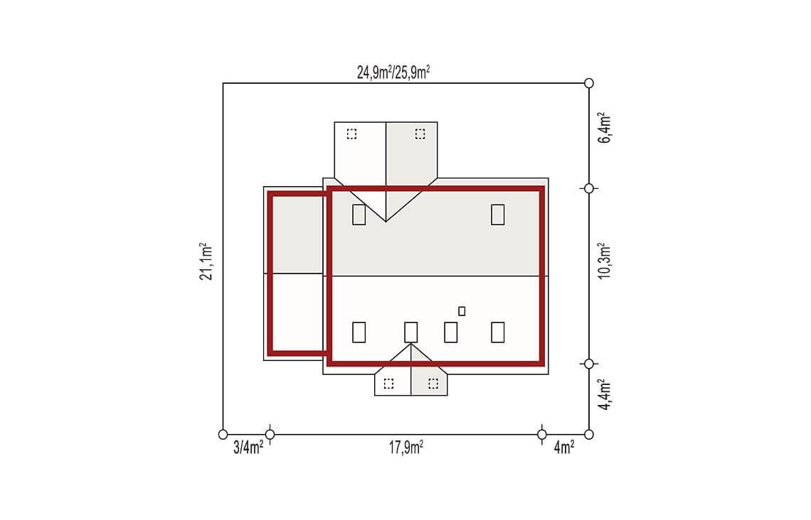 Projekt domu jednorodzinnego Anita Nova A Plus sytuacja