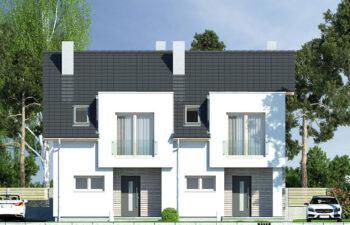 Projekt domu szeregowego-bliźniaczego Iskra bliźniak B elewacja front