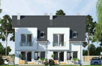 Projekt domu szeregowego-bliźniaczego Iskra bliźniak B elewacja ogród