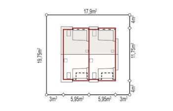 Projekt domu szeregowego-bliźniaczego Iskra bliźniak B rzut parter