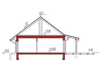 Projekt domu jednorodzinnego Nin 2D 37 przekrój
