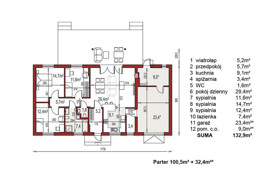 Projekt domu Nina 2 Nova C D rzut parter