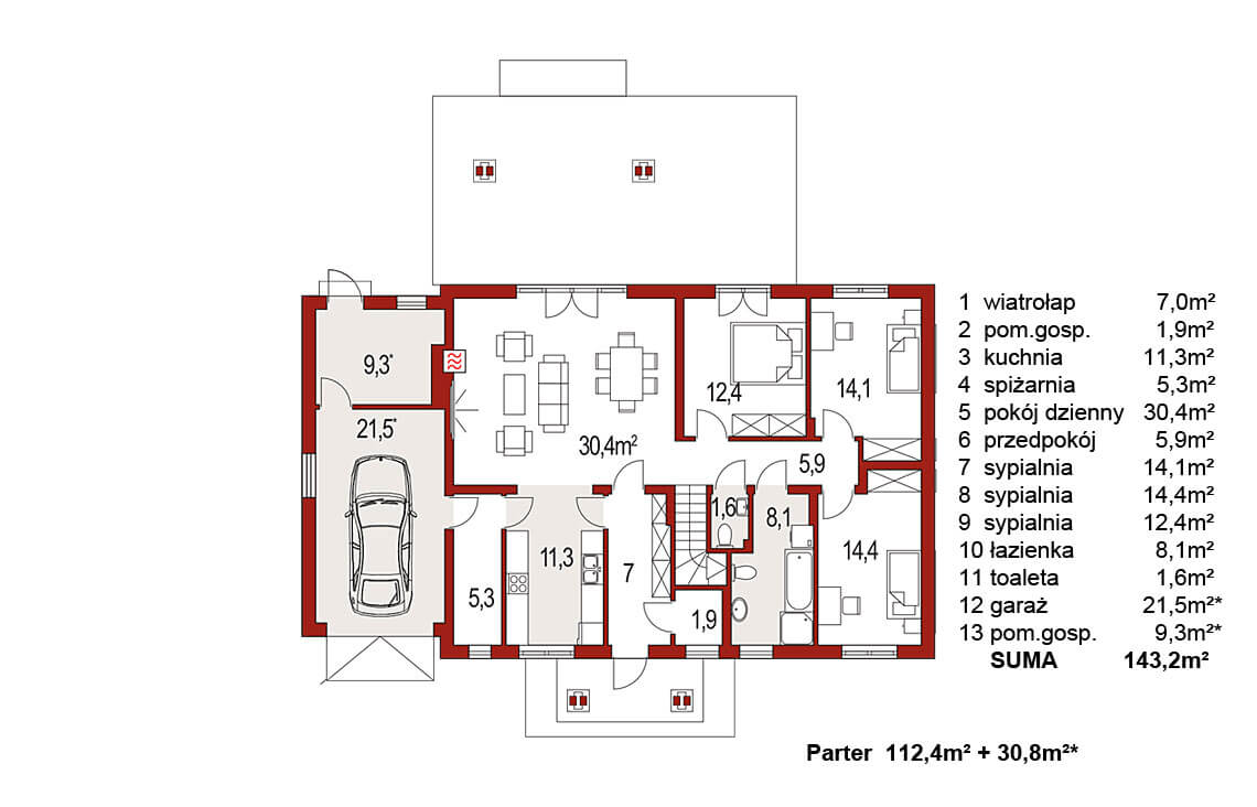 Projekt domu jednorodzinnego Anita Nova A Plus rzut parteru