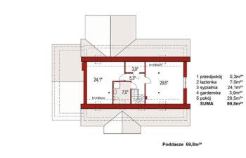 Projekt domu jednorodzinnego Anita Nova A Plus rzut poddasza
