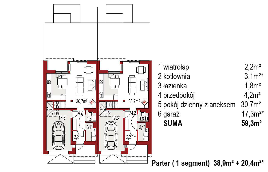 Projekt domu bliźniaczego Andrea Bliźniak A rzut parter