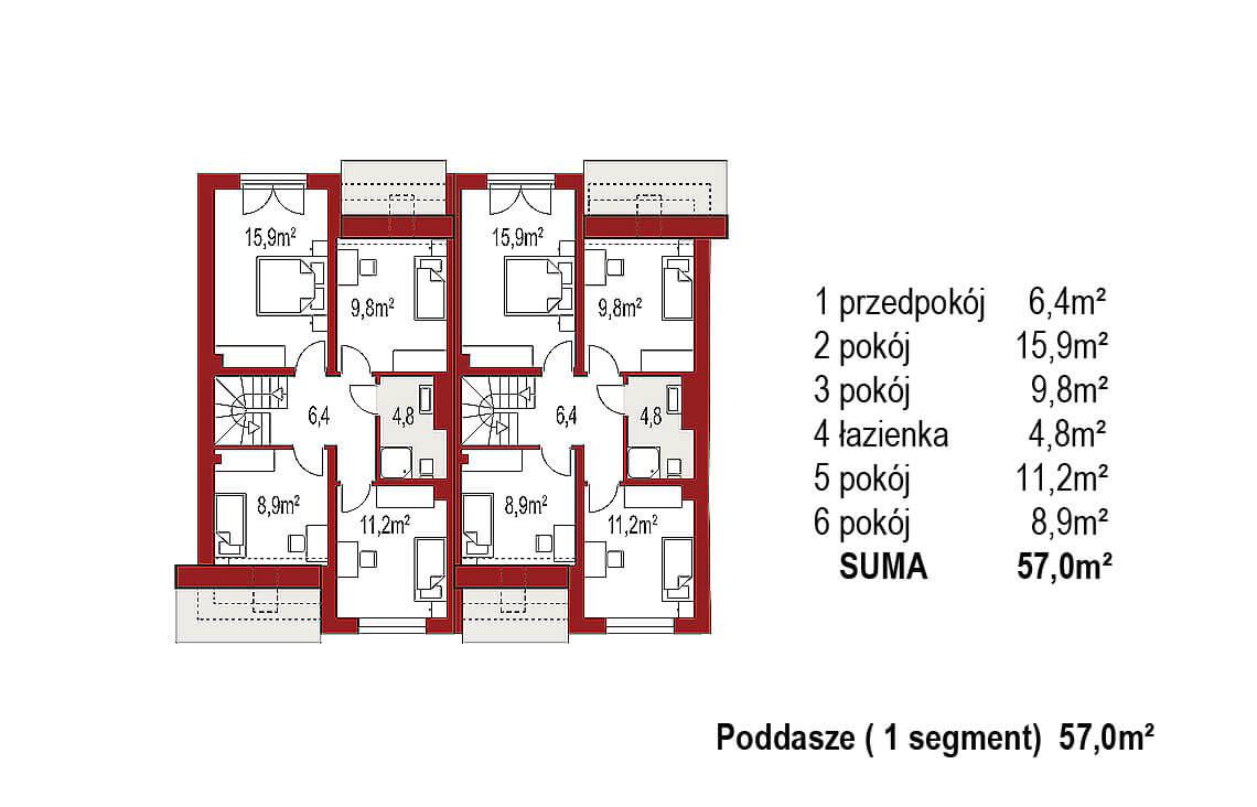 Projekt domu szeregowego, bliźniaczego Andrea Bliźniak A poddasze