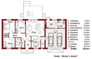 Projekt domu jednorodzinnego Nina F Plus rzut
