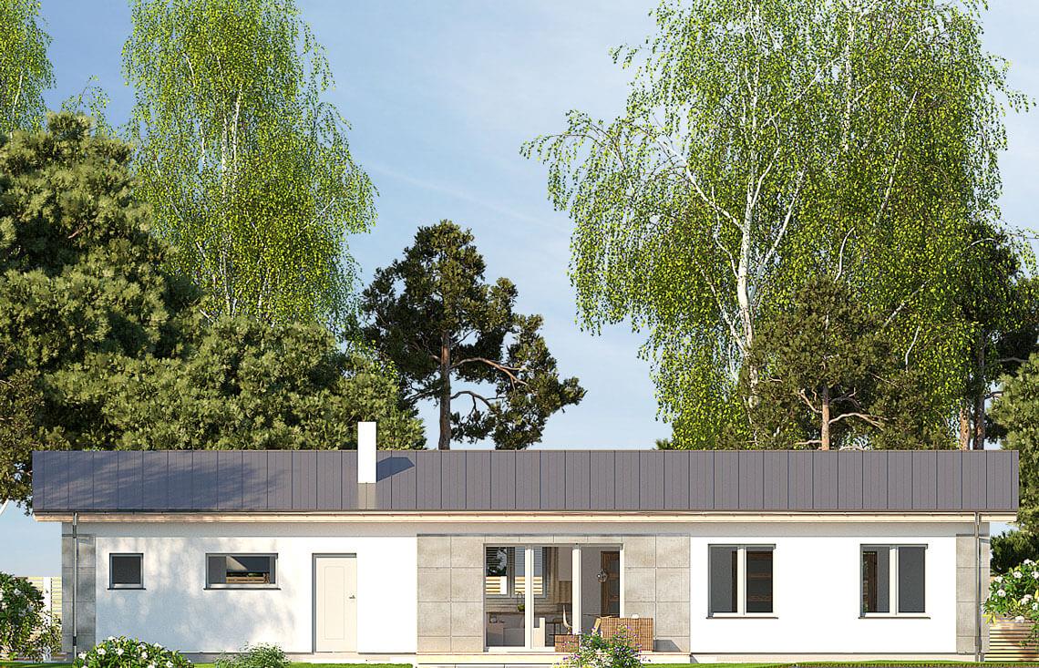 Projekt domu jednorodzinnego Nina F i F Plus elewacja ogród