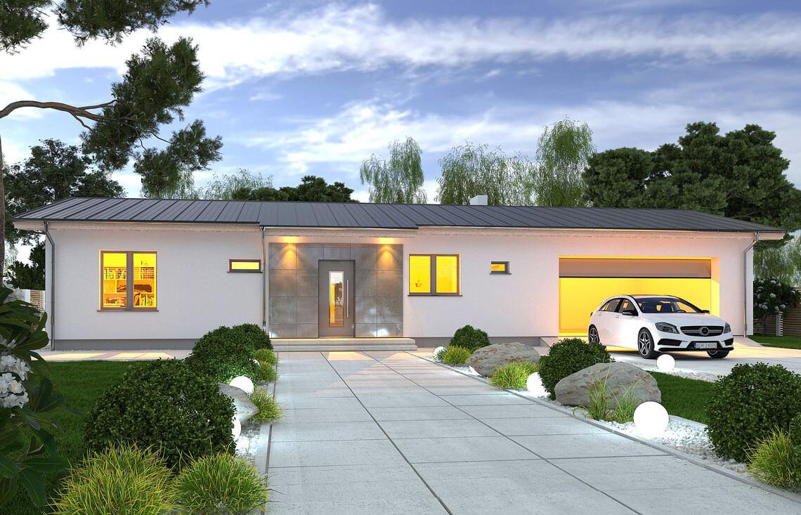 Projekt domu jednorodzinnego Nina F i F Plus widok front noc