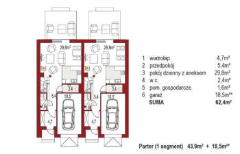 Projekt domu szeregowego-bliźniaczego Diana A bliźniak rzut parter