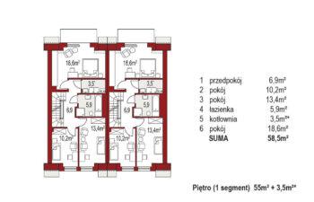 Projekt domu szeregowego-bliźniaczego Diana A bliźniak rzut pietro