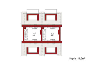 Projekt domu szeregowego-bliźniaczego Diana A bliźniak rzut strychu