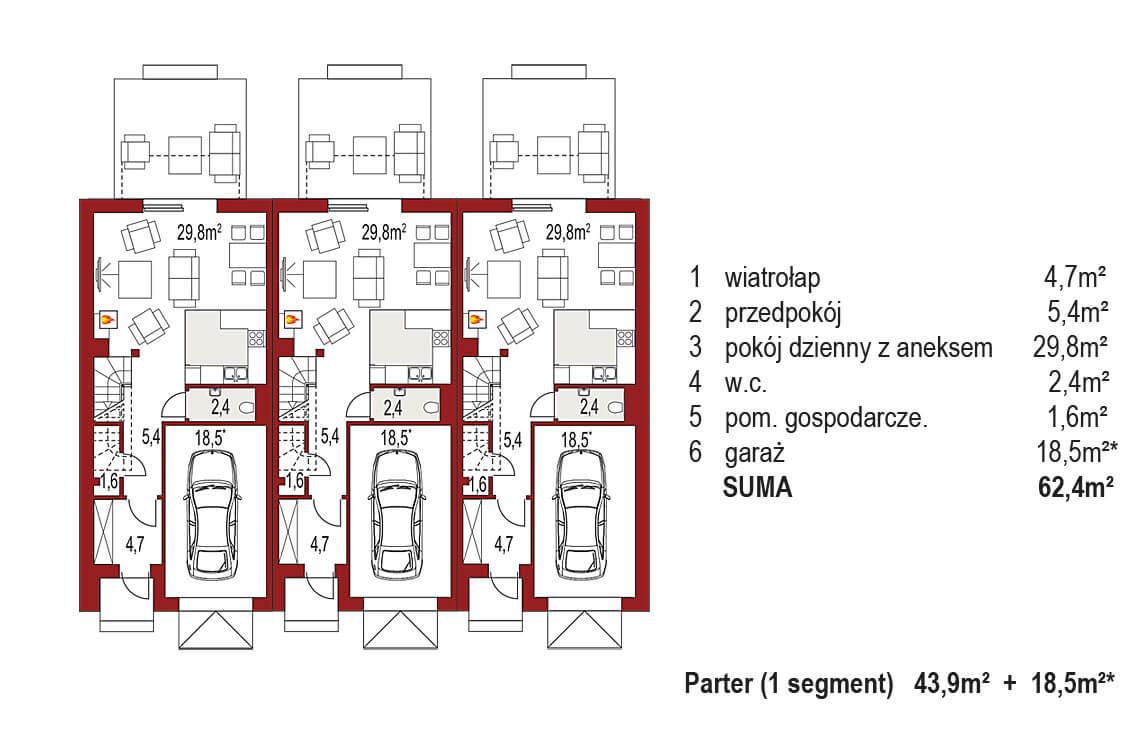 Projekt domu szeregowego-bliźniaczego Diana A zestaw 3 segmenty rzut parter