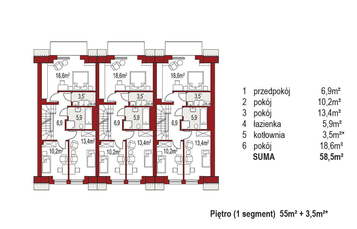 Projekt domu szeregowego-bliźniaczego Diana A zestaw 3 segmenty rzut pietro