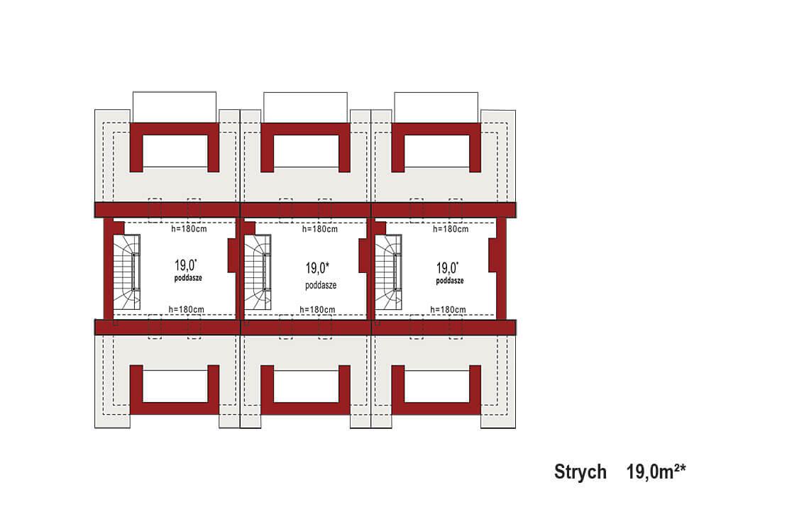 Projekt domu szeregowego-bliźniaczego Diana A zestaw 3 segmenty rzut strychu