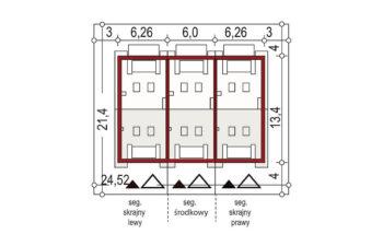 Projekt domu szeregowego-bliźniaczego Diana A zestaw 3 segmenty sytuacja