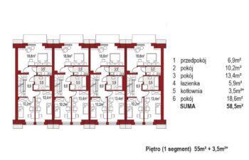 Projekt domu szeregowego-bliźniaczego Diana A zestaw 4 segmenty rzut pietro