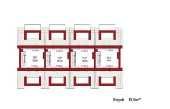 Projekt domu szeregowego-bliźniaczego Diana A zestaw 4 segmenty rzut strychu