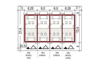Projekt domu szeregowego-bliźniaczego Diana A zestaw 4 segmenty sytuacja
