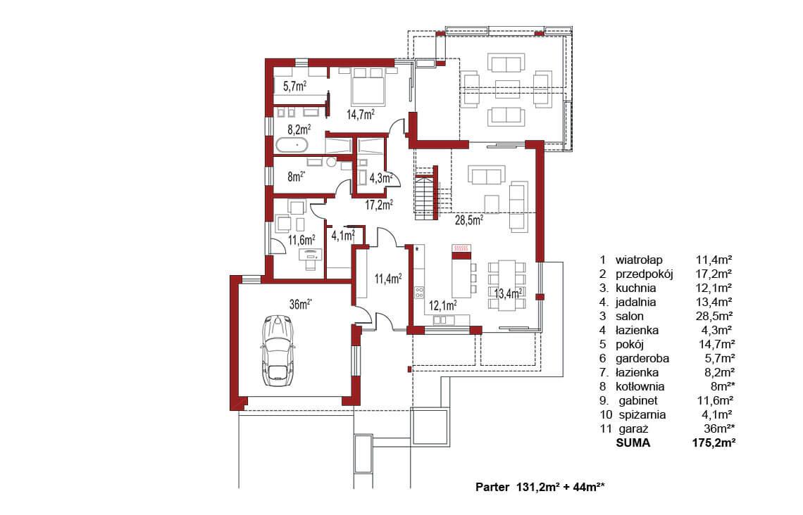 Projekt domu jednorodzinnego Alexandria rzut parteru