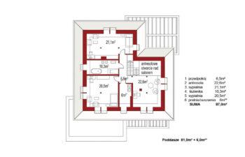 Projekt domu jednorodzinnego Alexandria rzut poddasza
