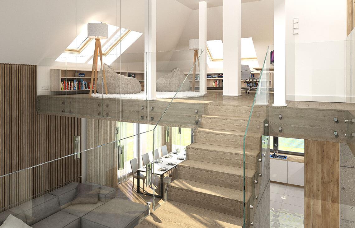 Projekt domu jednorodzinnego Alexandria wnętrze antresola