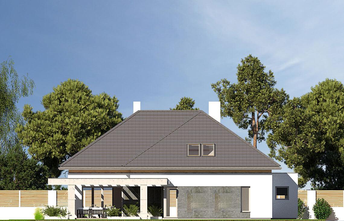 Projekt domu jednorodzinnego Alexandria elewacja ogród