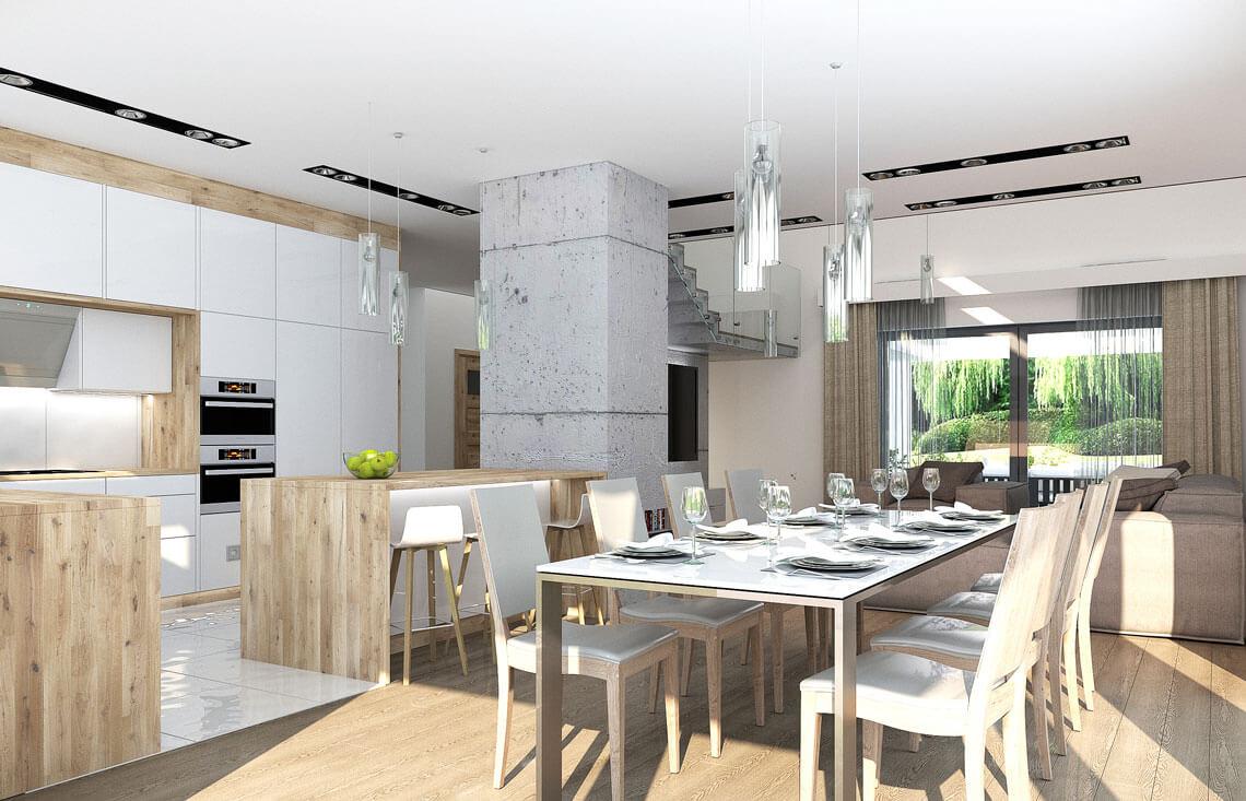 Projekt domu jednorodzinnego Alexandria wnętrze jadalnia