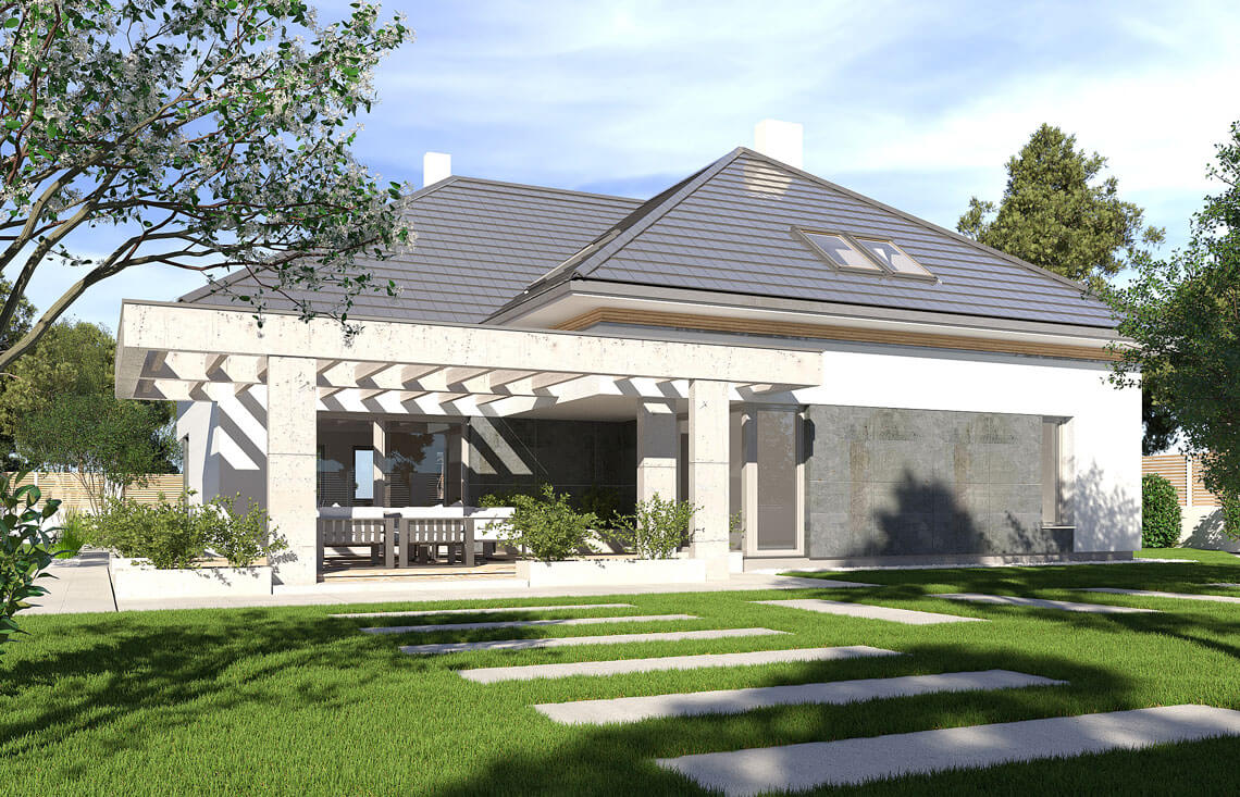 Projekt domu jednorodzinnego Alexandria widok ogród