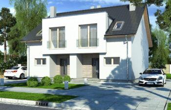 Projekt domu szeregowego-bliźniaczego Iskra bliźniak C widok front