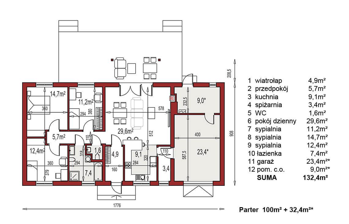 Projekt domu Nina 2 Nova C,D PLUS I 37 strop monolityczny rzut parter