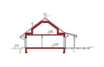 Projekt domu Nina 2 Nova D 37 PLUS strop monolityczny przekrój