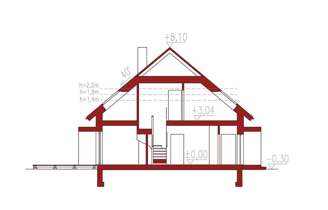 Projekt domu jednorodzinnego Ewa Lux Modern przekrój