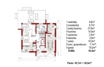 Projekt domu jednorodzinnego Ewa Lux Modern rzut parter