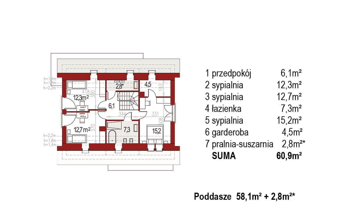 Projekt domu jednorodzinnego Ewa Lux Modern rzut poddasze