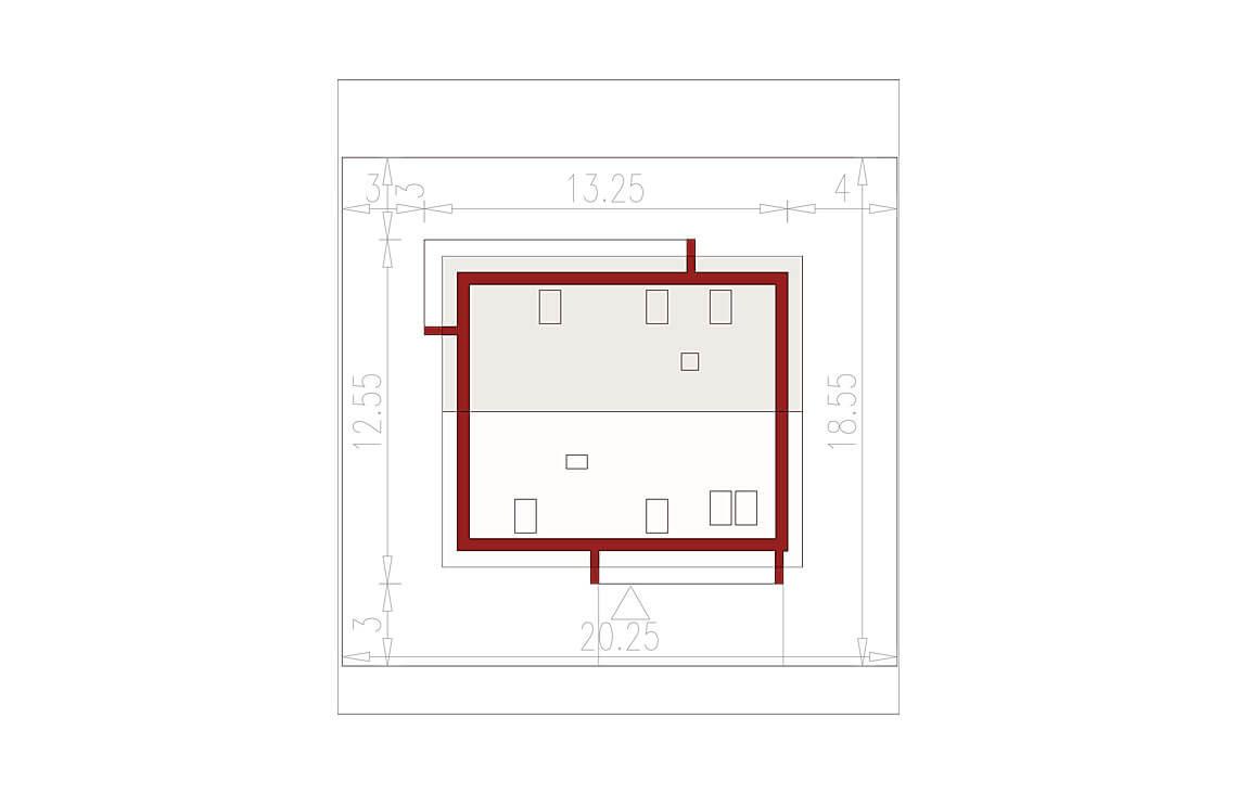 Projekt domu jednorodzinnego Ewa Lux Modern sytuacja