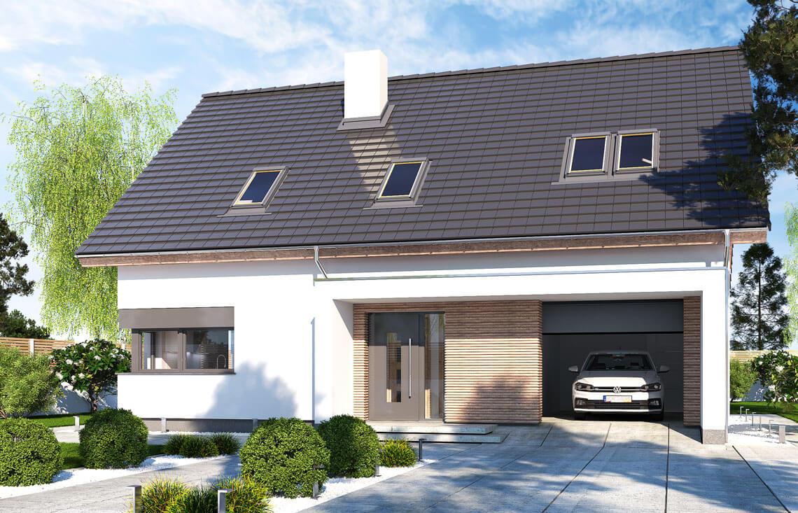 Projekt domu jednorodzinnego Ewa Lux Modern widok front 2