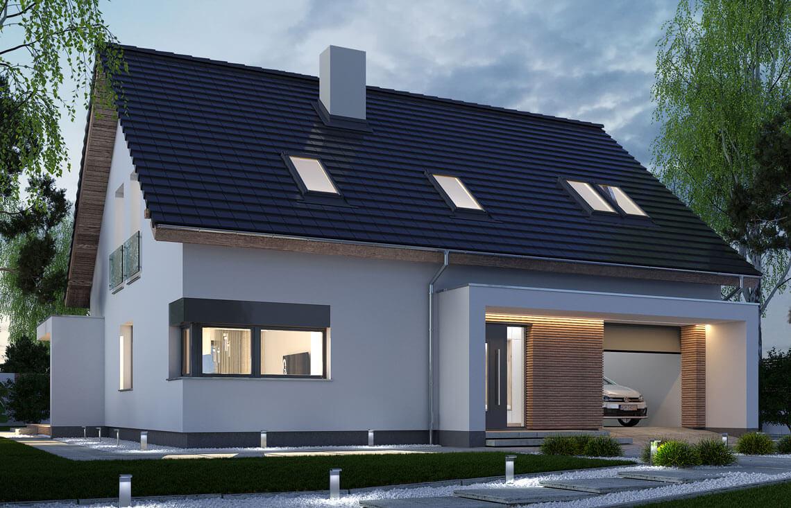 Projekt domu jednorodzinnego Ewa Lux Modern widok front noc
