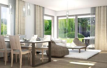 Projekt domu jednorodzinnego Ewa Lux Modern wnętrze salon jadalnia 2