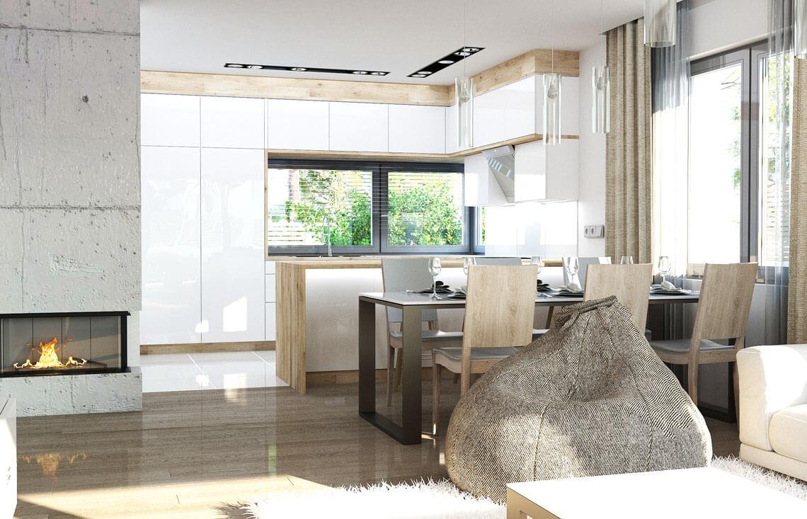 Projekt domu jednorodzinnego Ewa Lux Modern wnętrze salon jadalnia