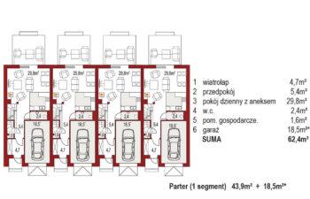 Projekt domu szeregowego-bliźniaczego Diana A zestaw 4 segmenty rzut parter