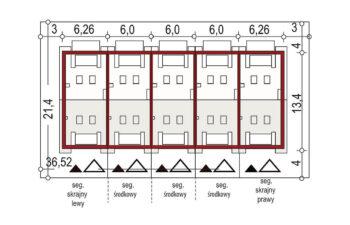 Projekt domu szeregowego-bliźniaczego Diana A zestaw 5 segmentów sytuacja
