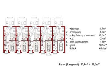 Projekt domu szeregowego-bliźniaczego Diana A zestaw 5 segmentów rzut parter